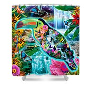 Happy Toucan Shower Curtain by Alixandra Mullins