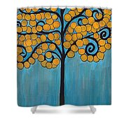 Happy Tree In Blue And Gold Shower Curtain