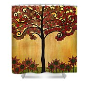 Happy Tree In Red Shower Curtain