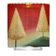 Happy Trees With Red Sky Shower Curtain