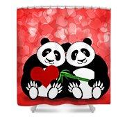 Happy Valentines Day Panda Couple Hearts Bokeh Shower Curtain