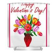 Happy Valentines Tulip Bouquet Shower Curtain