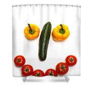 Happy Veggie Face Shower Curtain