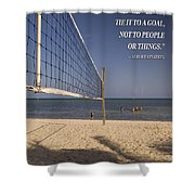 Happy Volleyball Goal Shower Curtain