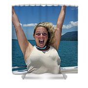 Happy Woman On Holiday  Shower Curtain