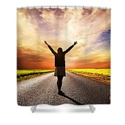 Happy Woman Standing On Long Road At Sunset Shower Curtain