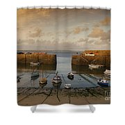 Harbor At Dusk Shower Curtain by Pixel Chimp