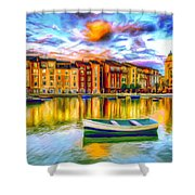 Harbor At Sunset Shower Curtain