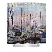 Harbor In Early Morning Shower Curtain