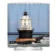 Harbor Of Refuge Light  And Breakwater Shower Curtain