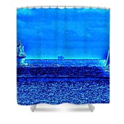 Harbor Of Refuge Lighthouse And Sailboat Abstract Shower Curtain