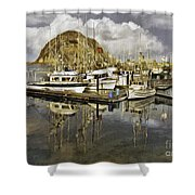 Harbor Reflection Impasto Shower Curtain