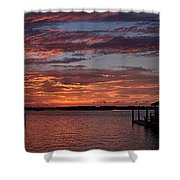 Harbor Side Sunset At Boat Dock Shower Curtain