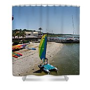 Harbor Town Beach 2 In Hilton Head Shower Curtain