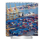 Harbor With Lots Of Cargo Shower Curtain