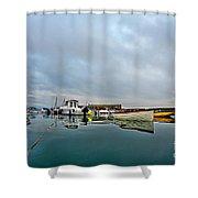 Harbour Overview 2 - Lyme Regis Shower Curtain