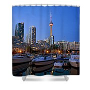Harbourfront Marina West At Dusk Shower Curtain