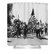 Hard Hat Pro-viet Nam War March Saluting Cops Tucson Arizona 1970 Black And White Shower Curtain