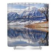 Hardy Fishermen Deer Creek Reservoir And Timpanogos In Winter Shower Curtain