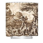 Hare Hunting, Engraved By Wenceslaus Shower Curtain