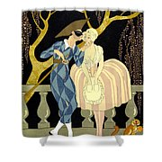 Harlequin's Kiss Shower Curtain by Georges Barbier