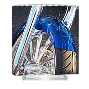 Harley Close-up Blue Flame  Shower Curtain