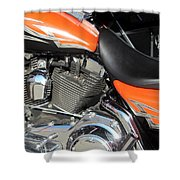 Harley Close-up Orange 1 Shower Curtain