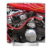 Harley Close-up Pink And Red Flames Shower Curtain