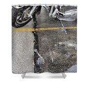 Harley Close-up Rain Reflections Tall Shower Curtain