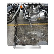 Harley Close-up Rain Reflections Wide Shower Curtain