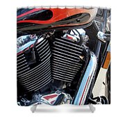 Harley Close-up Red Flame 1 Shower Curtain