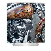 Harley Close-up Skull Flame  Shower Curtain