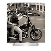 Harley Davidson Black And White Shower Curtain