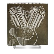 Harley Davidson Engine Shower Curtain by Dan Sproul