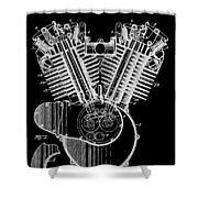 1923 Harley Davidson Black And White Engine Patent Shower Curtain