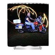 Harley Davidson Light Painting Shower Curtain