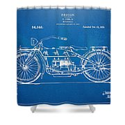 Harley-davidson Motorcycle 1919 Patent Artwork Shower Curtain by Nikki Marie Smith