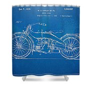 Harley-davidson Motorcycle 1924 Patent Artwork Shower Curtain by Nikki Marie Smith