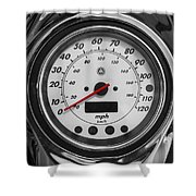 Harley Davidson Motorcycle Speedometer Harley Bike Bw  Shower Curtain