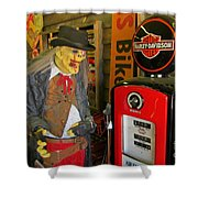 Harley Davidson Vintage Gas Pump Shower Curtain