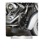 Harley Engine Close-up Rain 1 Shower Curtain