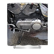 Harley Engine Close-up Yellow Line Shower Curtain
