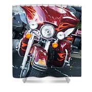 Harley Red W Orange Flames Shower Curtain