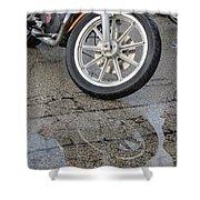 Harley Reflection In Rain  Shower Curtain
