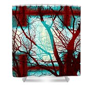Harmonious Colors - Red White Turquoise Shower Curtain