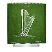 Harp Music Instrument Patent From 1901 - Green Shower Curtain