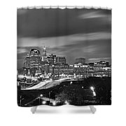 Hartford Skyline At Night Bw Black And White Shower Curtain