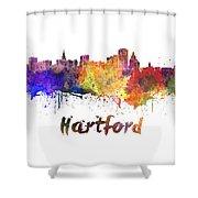 Hartford Skyline In Watercolor Shower Curtain