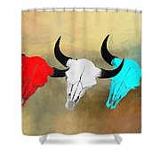 Hart's Camp Buffalo Skulls Shower Curtain