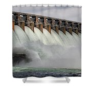 Hartwell Dam With Flood Gates Open Shower Curtain